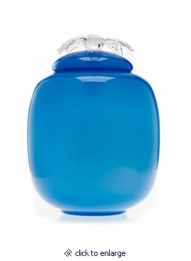 Blue Flores Collection Hand Blown Glass Cremation Urn