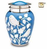 Blue with Silver Blessing Birds Brass Cremation Urn