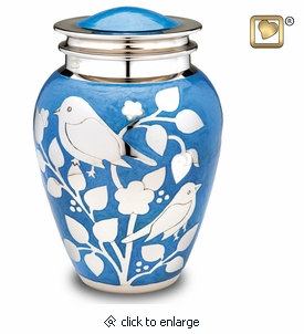 Blue with Silver Blessing Birds Cremation Urn
