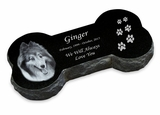 Bone Laser-Engraved Pet Marker Black Granite Memorial