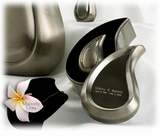 Brushed Pewter Tear Drop Ultra Keepsake Cremation Urn Set