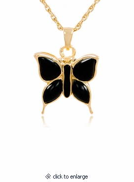 Butterfly with onyx gold vermeil cremation jewelry pendant necklace aloadofball Image collections