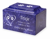 Cat Prints in Heart Pet Classic Cultured Marble Cremation Urn Vault - Engravable - 34 Color Choices