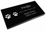 Cat Prints Pet Grave Marker Black Granite Laser-Engraved Memorial Headstone