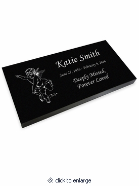 Cherub Grave Marker Black Granite Laser-Engraved Memorial Headstone