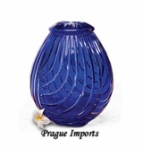 Cobalt Blue Linum Lead Crystal Cremation Urn