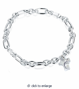 Cross Charm Oval Link Sterling Silver Cremation Jewelry Bracelet