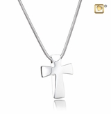 Cross Rhodium Plated Sterling Silver Cremation Jewelry Pendant Necklace