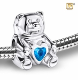 CuddleBear with Blue Heart Rhodium Plated Sterling Silver Cremation Jewelry Bead