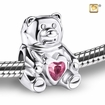 CuddleBear with Pink Heart Rhodium Plated Sterling Silver Cremation Jewelry Bead