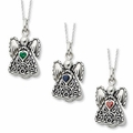 CZ Birthstone Angel Cremation Jewelry Necklaces by Deborah Birdoes