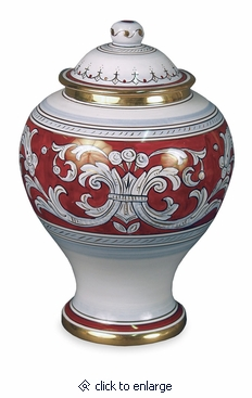 D'Oro Italian Hand-Painted Porcelain Cremation Urn