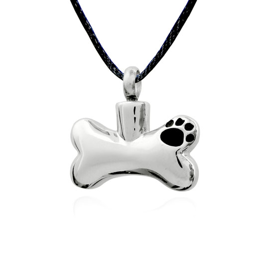 Dog bone paw print stainless pet cremation jewelry pendant necklace aloadofball Choice Image