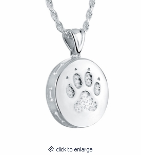Paw sterling silver pet cremation jewelry pendant necklace dog paw sterling silver pet cremation jewelry pendant necklace mozeypictures Images