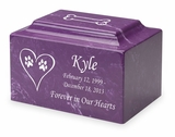 Dog Prints in Heart Pet Classic Cultured Marble Cremation Urn Vault - Engravable - 34 Color Choices