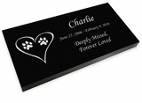 Dog Prints in Heart Pet Grave Marker Black Granite Laser-Engraved Memorial Headstone