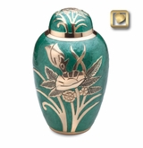 Emerald Rose Enameled Brass Cremation Urn