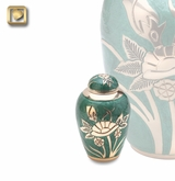 Emerald Rose Enameled Keepsake Cremation Urn