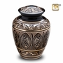 Engraved Black and Gold Brass Cremation Urn