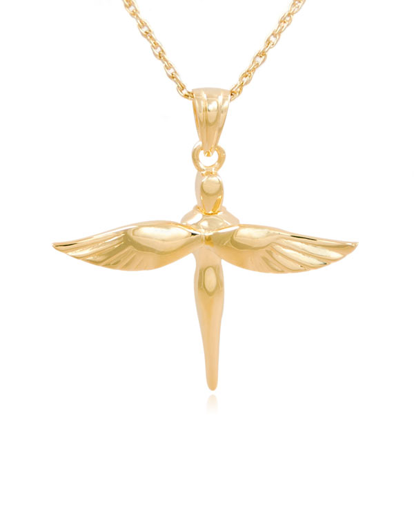 Fairy cross gold vermeil cremation jewelry pendant necklace aloadofball Image collections