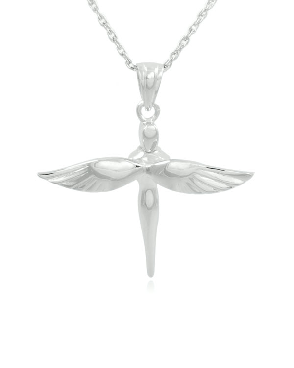 Fairy cross sterling silver cremation jewelry pendant necklace aloadofball Image collections