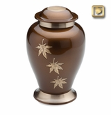 Falling Leaves Brushed Brass Cremation Urn