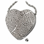 Fingerprint Heart Slider Stainless Steel Memorial Cremation Pendant Necklace