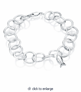 Fish Charm Round Link Sterling Silver Cremation Jewelry Bracelet