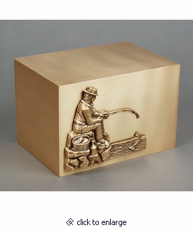 Fisherman Bronze Cremation Urn