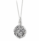 Floral Circle Antiqued Sterling Silver Cremation Jewelry Necklace