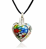 Flower Heart with Color Border Stainless Steel Cremation Jewelry Pendant Necklace