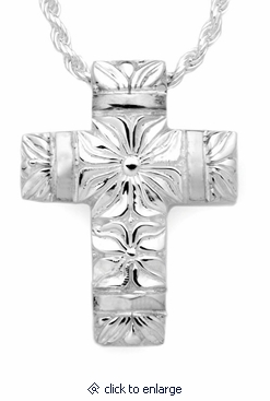 Flowers and Bands Cross Sterling Silver Cremation Jewelry Pendant Necklace