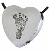 Footprint Heart Slider Stainless Steel Memorial Cremation Pendant Necklace