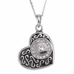 Girl Handprint in Heart Sterling Silver Cremation Jewelry Necklace