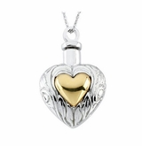 Gold Heart in Heart Sterling Silver Cremation Jewelry Necklace