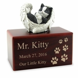 Hamilton Collection Black and White Cat Figurine Cherry Wood MDF Cremation Urn