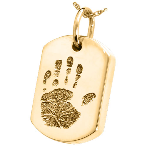 Handprint dog tag solid 14k gold cremation pendant necklace aloadofball Gallery