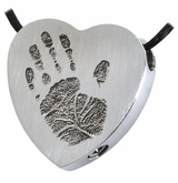 Handprint Heart Slider Stainless Steel Memorial Cremation Pendant Necklace