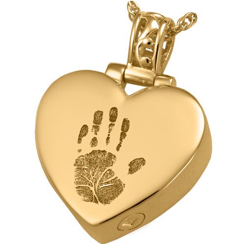 Handprint heart with filigree bail solid 14k gold cremation necklace aloadofball Gallery