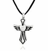 Heart and Angel Wings Cross Stainless Steel Cremation Jewelry Pendant Necklace