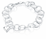 Heart Charm Round Link Sterling Silver Cremation Jewelry Bracelet