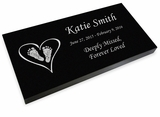 Heart with Feet Grave Marker Black Granite Laser-Engraved Infant-Child Memorial Headstone