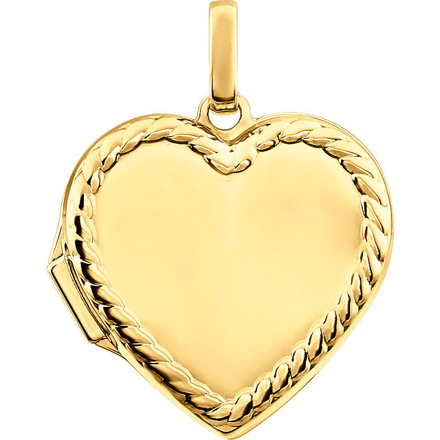 Heart with rope border 14k yellow gold memorial locket necklace mozeypictures Choice Image
