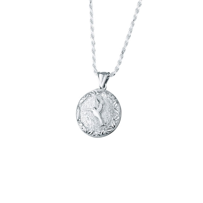 Hummingbird round sterling cremation jewelry necklace for ashes aloadofball