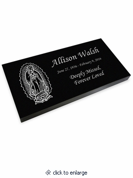 Lady of Guadalupe Grave Marker Black Granite Laser-Engraved Memorial Headstone
