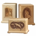 Laser Carved Wood Cremation Urns