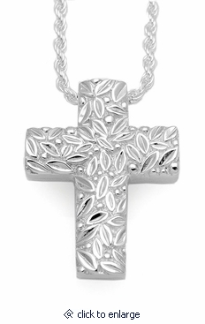 Leaves and Berries Cross Sterling Silver Cremation Jewelry Pendant Necklace