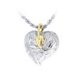 Leaves and Berries Heart Sterling Silver with Gold Cremation Jewelry Pendant Necklace
