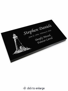 Lighthouse Grave Marker Black Granite Laser-Engraved Memorial Headstone