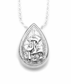 Lily Bouquet Teardrop Sterling Silver Cremation Jewelry Pendant Necklace